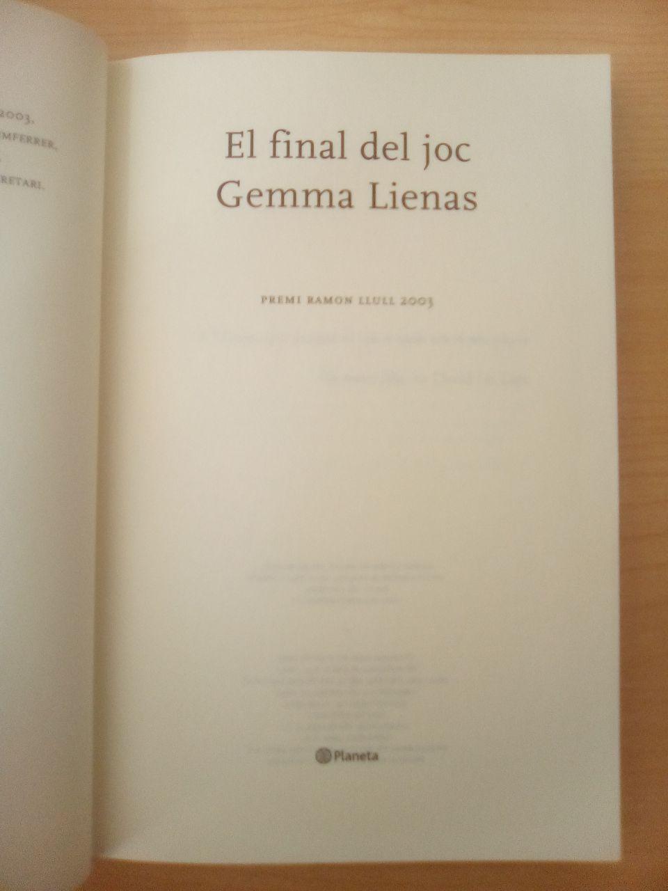El final del joc, de Gemma Lienas